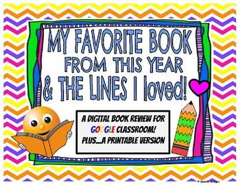 My Favorite Book & Lines I Loved: Digital & Printable Versions