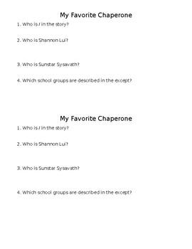 My Favorite Chaperone Check for Comprehension/Mini-Quiz