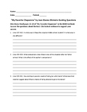 My Favorite Chaperone Guiding Questions Worksheet