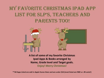 My Favorite Christmas Ipad Apps & Books~Speech & Language Related