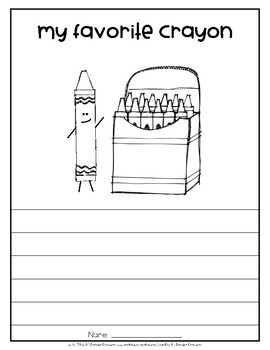 My Favorite Crayon Opinion Writing Prompt