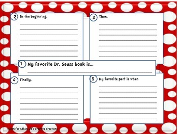 My Favorite Dr. Seuss Book Four Square and Writing Paper
