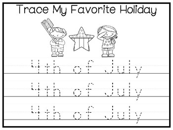 My Favorite Holiday-4th of July Trace and Color Worksheets. Preschool Handwritin