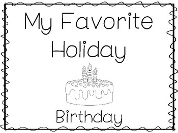My Favorite Holiday-Birthday Trace and Color Worksheets. Preschool Handwriting.