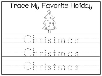 My Favorite Holiday-Christmas Trace and Color Worksheets. Preschool Handwriting.