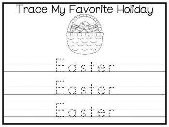 My Favorite Holiday-Easter Trace and Color Worksheets. Preschool Handwriting.