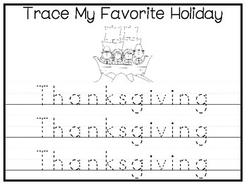 My Favorite Holiday-Thanksgiving Trace and Color Worksheets. Preschool Handwriti