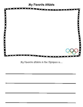 My Favorite Olympic Athlete Writing Prompt Freebie