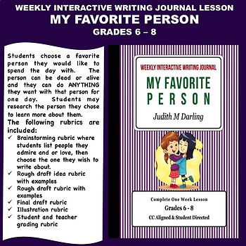 Interactive Weekly Writing Journal Lesson - My Favorite Person - CC Aligned