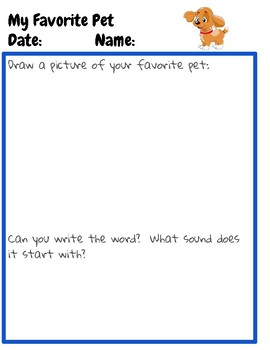My Favorite Pet Journal Page Preschool Kindergarten Bilingual English Spanish