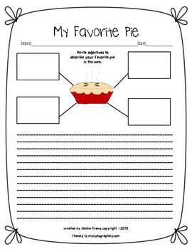 My Favorite Pie Graphic Organizer and Writing Page