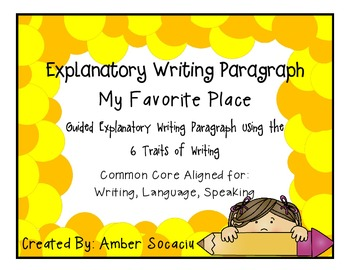 """""""My Favorite Place"""" Guided Explanatory Writing Paragraph"""