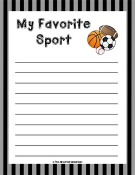 My Favorite Sport Writing Paper {FREEBIE!}
