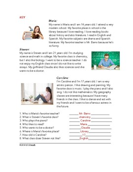 My Favorite Subjects Easy English Reading: School / Classes (ESL / EFL / ELL )