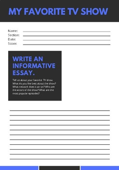 My Favorite Tv Show Essay Worksheet By Anthony Austin  Tpt My Favorite Tv Show Essay Worksheet