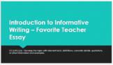 My Favorite Teacher - Day 1