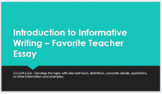 My Favorite Teacher - Lesson plans and student slides
