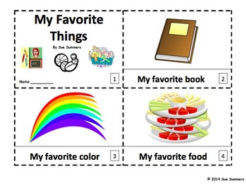 My Favorite Things - 2 Emergent Reader Booklets in English