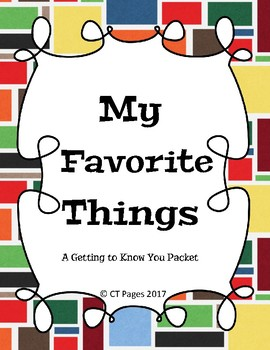 My Favorite Things: A Getting to Know You Packet