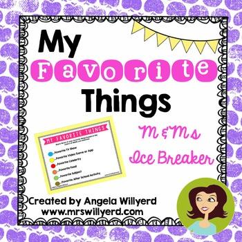 Back to School Ice Breaker - My Favorite Things using M&Ms