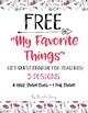 My Favorite Things Teacher Gifts Questionnaire / Template