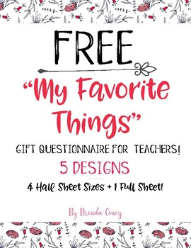 photograph regarding Teacher Favorite Things Printable titled My Favored Elements Instructor Presents Questionnaire / Template