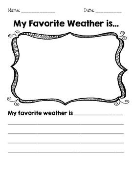 My Favorite Weather is.... graphic organizer