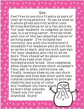 My Favorite Winter Break Book Writing Response Freebie
