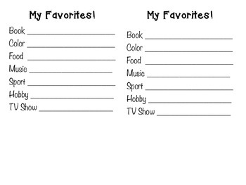 My Favorites Student Survey