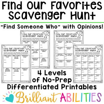 Opinions & Favorites! Getting-to-Know-You Activities DIFFERENTIATED & NO-PREP