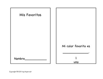 My Favorites/Mis Favoritos Mini-Book in English and Spanish