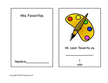 My Favorites/Mis Favoritos Mini-Book in English and Spanish