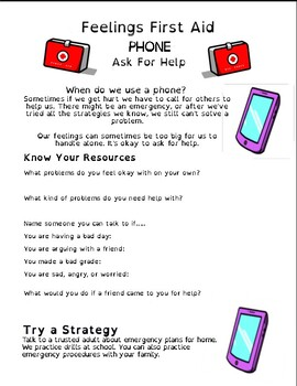 My Feelings First Aid Kit Student Activity Page: Phone