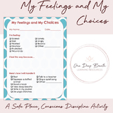 My Feelings and My Choices - Safe Place and Conscious Discipline Activity