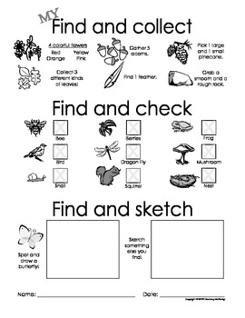 My Find and Collect, Check and Sketch! - Nature Scavenger Hunt