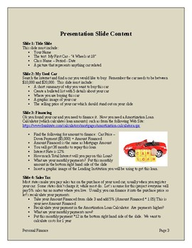 Buying a Car - A Personal Finance Powerpoint Project Simulation