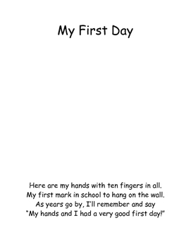 My First Day Handprint
