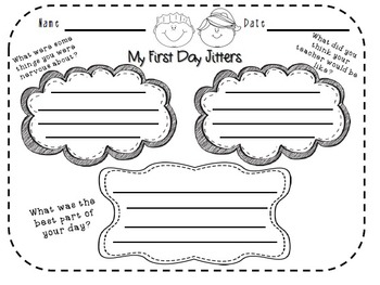 My First Day Jitters Writing Activity