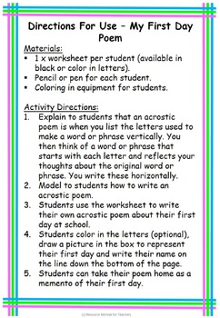 My First Day Poem Back to School First Day Fun, Printable Worksheet