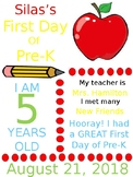 My First Day of Pre-K Certificate (editable)