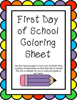 My First Day of School Coloring Page