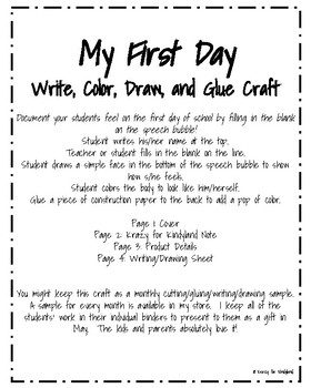 My First Day of School: Write, Color, Draw, and Glue Craft (Back to School)