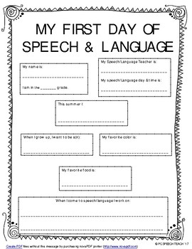 My First Day of Speech & Language
