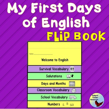 ESL Activities:  My First Days of English Flip Book ELL ENL