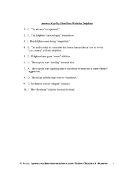 My First Dive with the Dolphins Vocabulary Quiz Worksheet