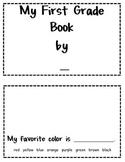 My First Grade Book - A First Grade Memory Book
