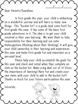 My First Grade Bucket List-Great for Back-to-School