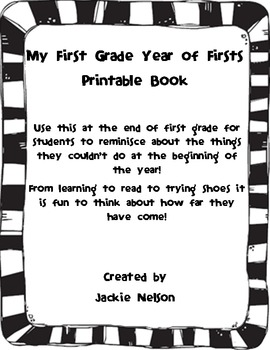 My First Grade Year of Firsts Printable Book