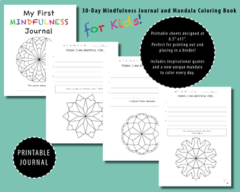 Mindfulness Journal 30-day and mandala coloring, counseling, new years, anxiety