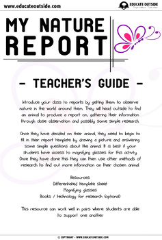 My First Nature Report: Report Writing For K - Grade 1 - Science Observation